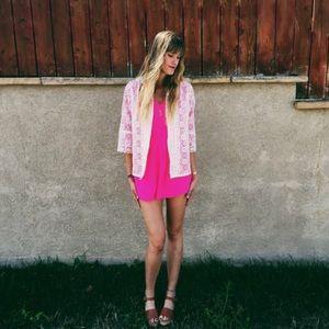 60's Vtg Bohemian Lace Button-Up Blouse Size S/M